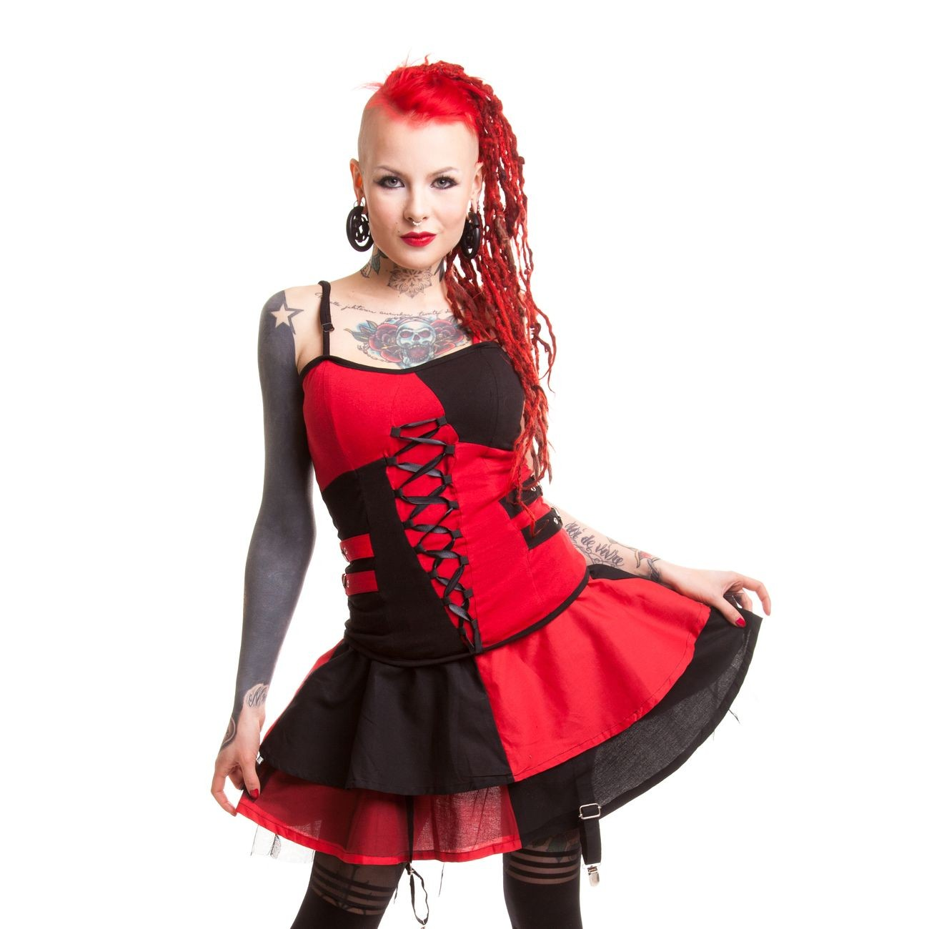 HEARTLESS - JESTER SKIRT LADIES BLACK/RED