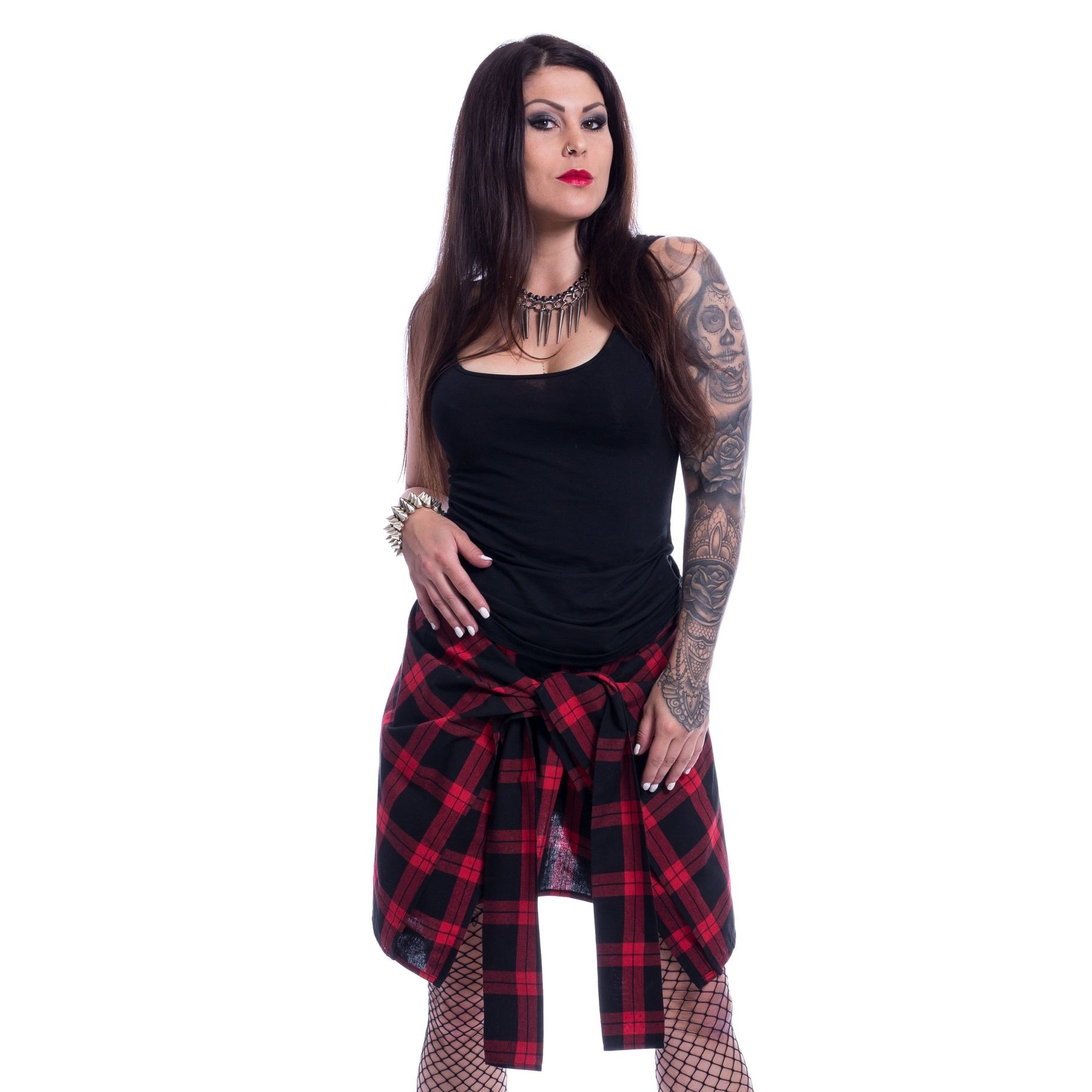 CHEMICAL BLACK - Alanis Skirt Ladies Red Check *NEW IN*