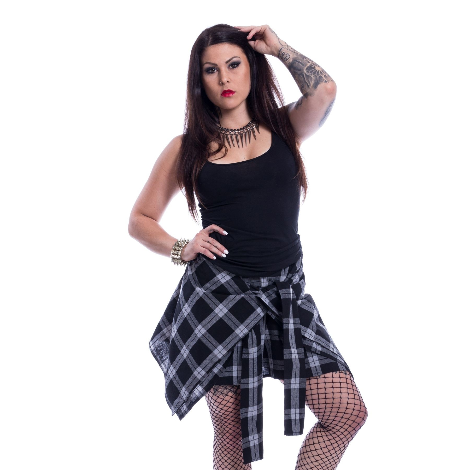 CHEMICAL BLACK - Alanis Skirt Ladies White Check *NEW IN*