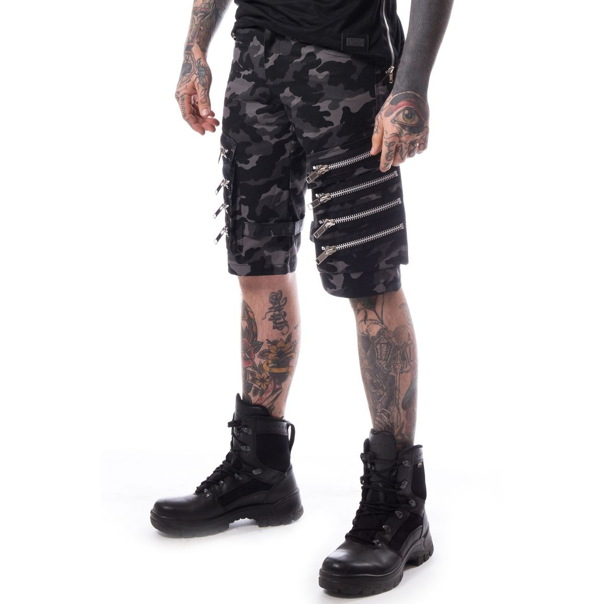 HEARTLESS - Arvid Shorts Mens Grey Camo *NEW IN-a*