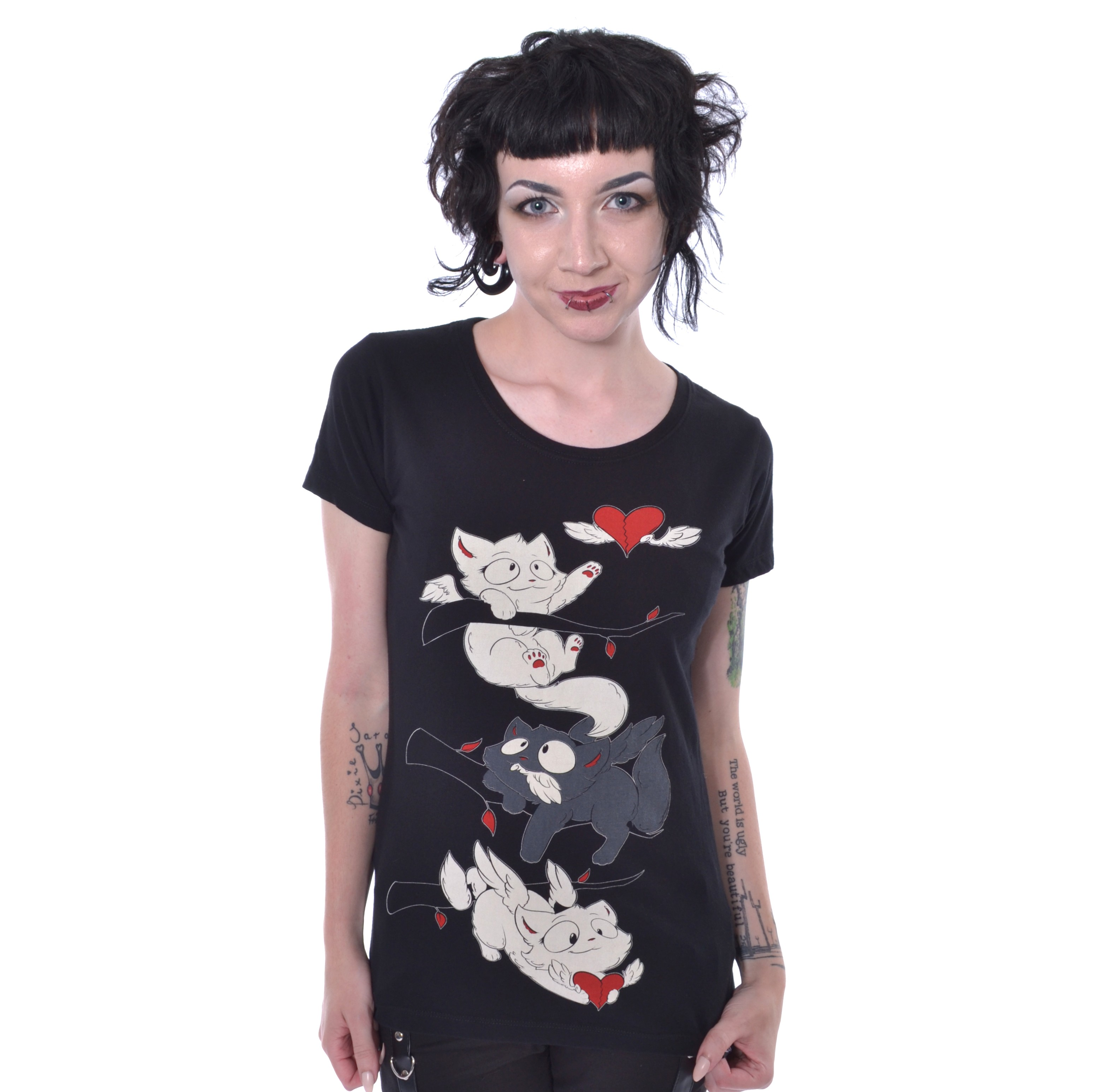 CUPCAKE CULT - Broken Butterfly T Ladies Black *a1