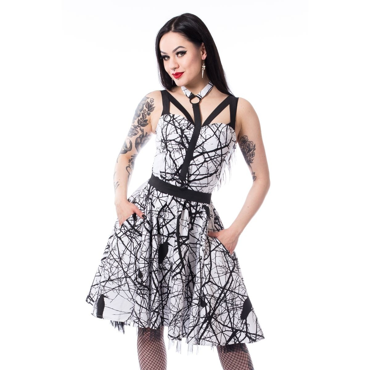 VIXXSIN - Crow Dress Ladies White/Black *NEW IN-a*