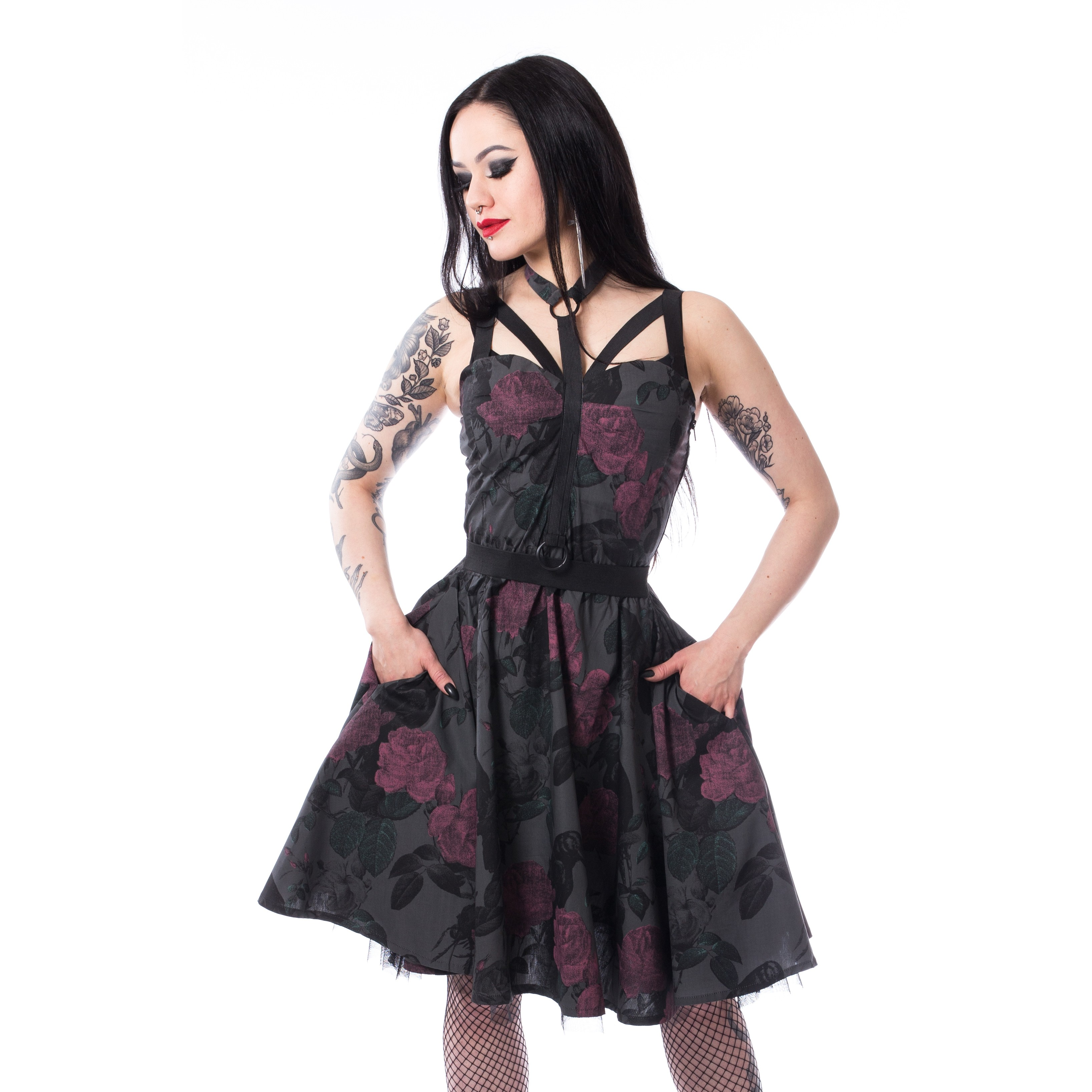 CHEMICAL BLACK - Dark Rose Dress Ladies Black *NEW IN-a*