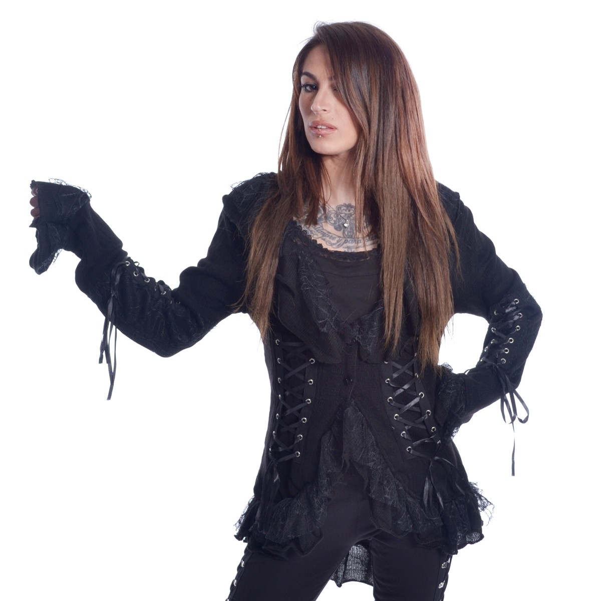 POIZEN INDUSTRIES - 4726 GOTHIC JACKET LADIES BLACK SIZE M/L CLEARANCE