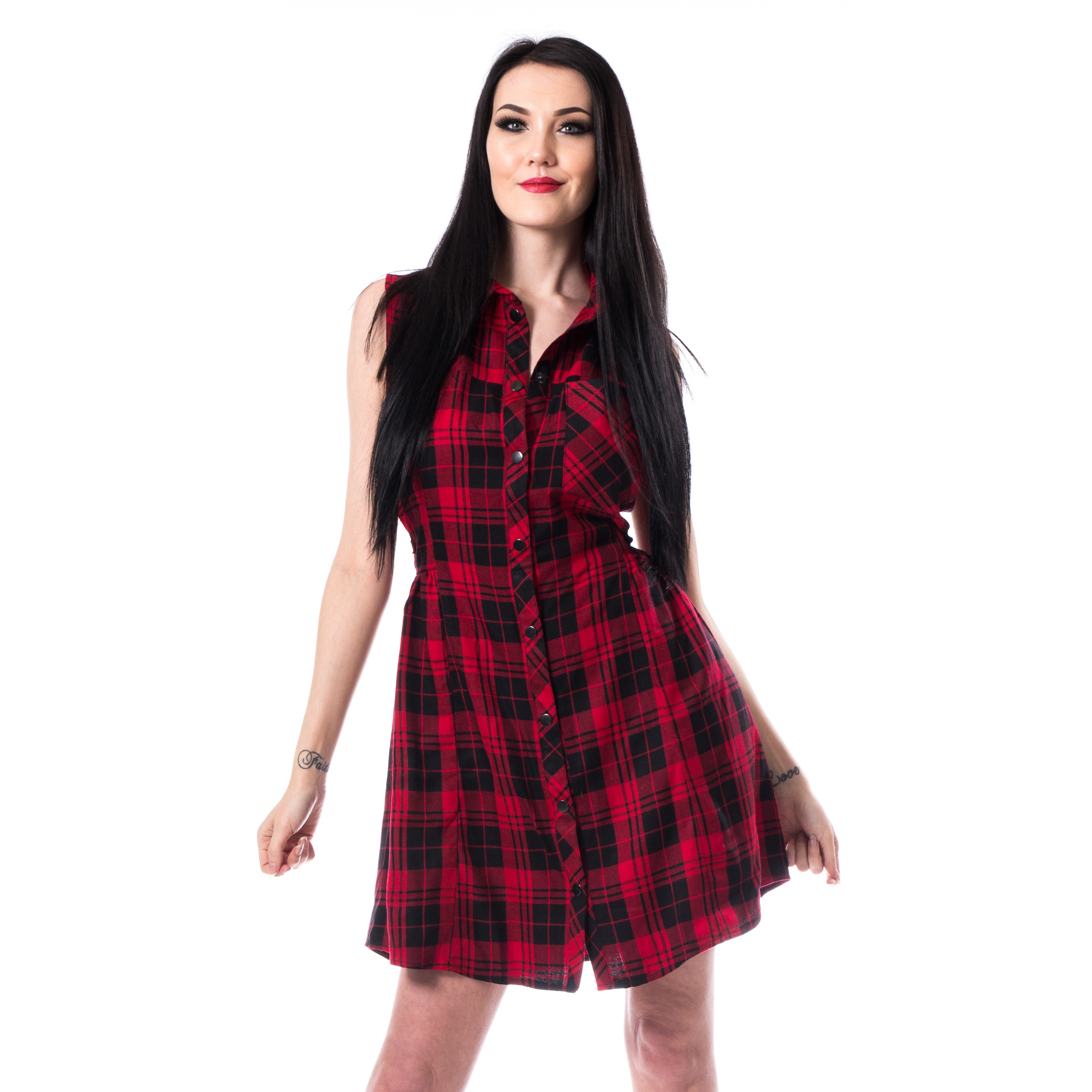 VIXXSIN - Eerika Dress Ladies Red Check *NEW IN-a*