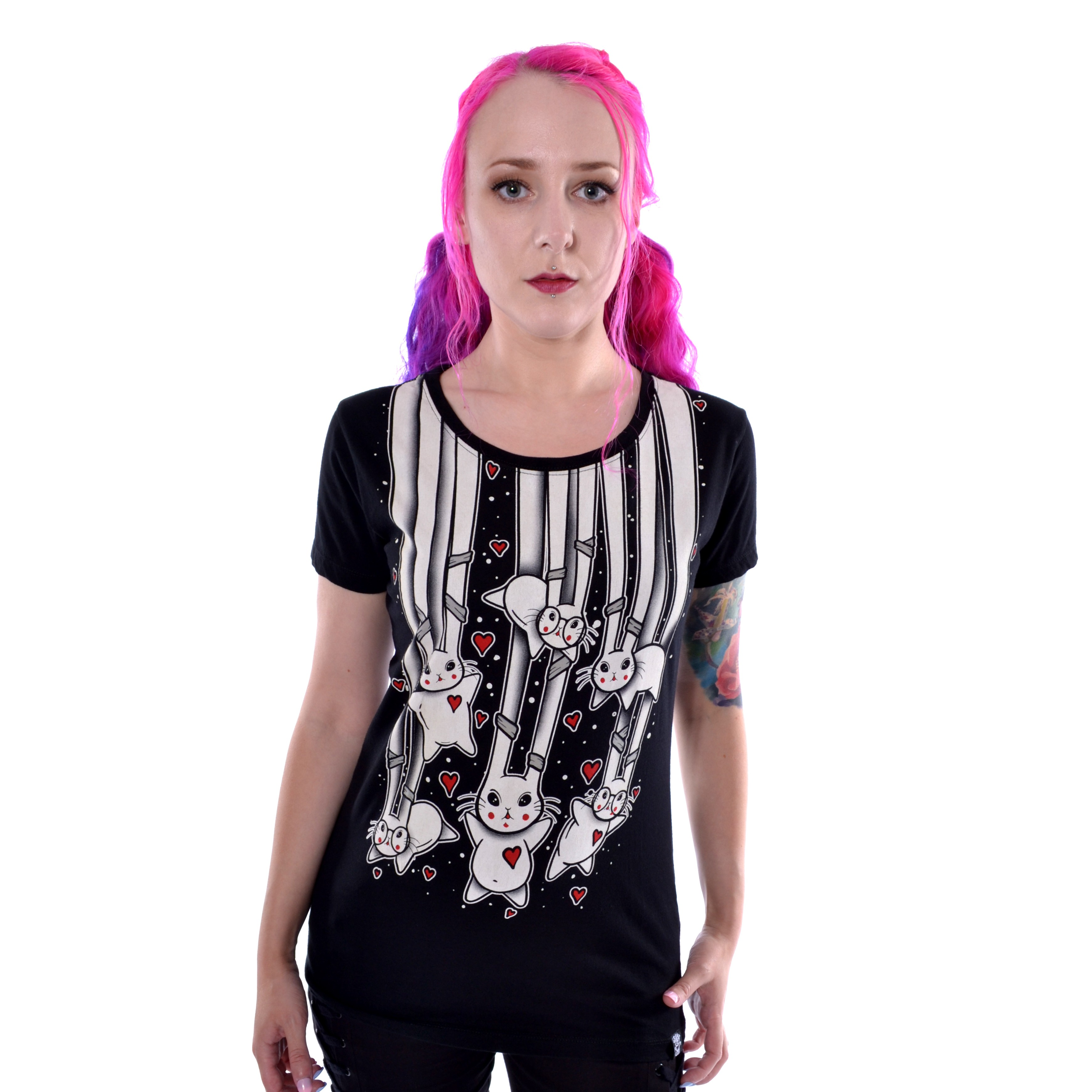 CUPCAKE CULT - Falling Bunnies T Ladies Black *a1