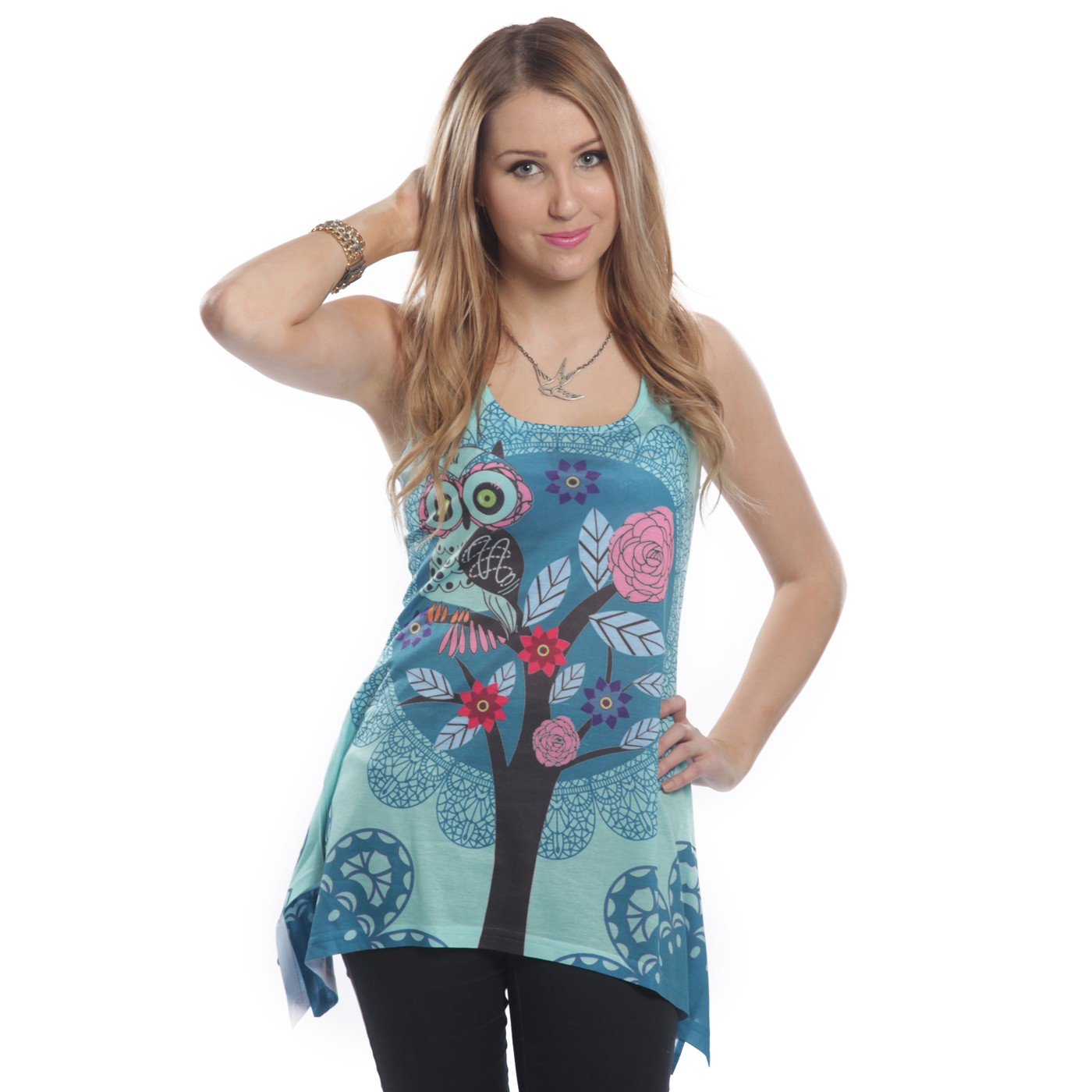 INNOCENT LIFESTYLE - HOOT LACE PANEL VEST LADIES BLUE