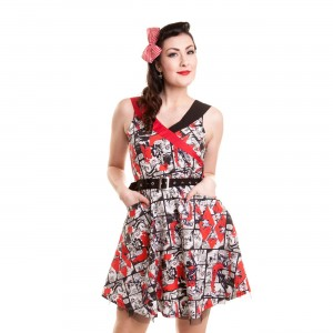 BATMAN - SAIN DRESS LADIES BLACK/RED