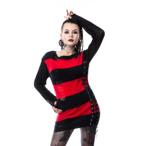 HEARTLESS - DROPOUT TOP LADIES BLACK/RED