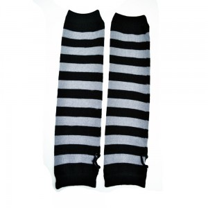 POIZEN INDUSTRIES - STRIPE STRAP ARMWARMERS LADIES BLACK/GREY