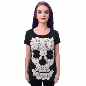 CUPCAKE CULT - Cat Skull T Ladies Black Size M