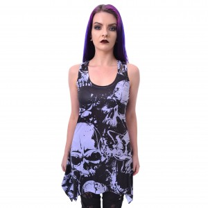HEARTLESS - SKULL PATTERN LACE PANEL VEST LADIES BLACK/WHITE |b|