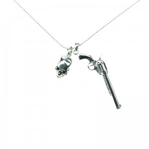 POIZEN INDUSTRIES - SKULL PISTOL P1 NECKLACE LADIES SILVER