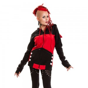 BYE BYE KITTY - STAR KITTY HOOD LADIES BLACK/RED
