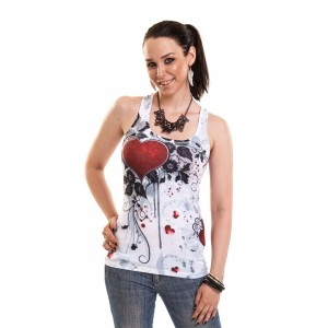 INNOCENT LIFESTYLE - ROSE HEART LACE VEST LADIES WHITE