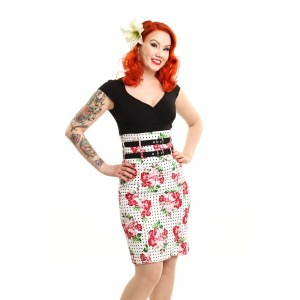 ROCKABELLA - ALYSON SKIRT LADIES ROSE POLKA WHITE