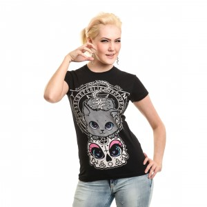 CUPCAKE CULT - CAT NIGHT T LADIES BLACK