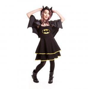 BATMAN - BATMAN CAPE DRESS LADIES BLACK