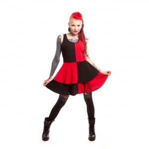 HEARTLESS - JESTER DRESS LADIES BLACK/RED
