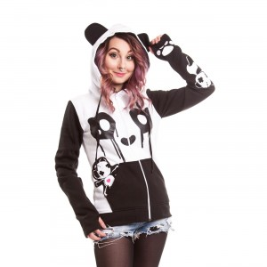 KILLER PANDA - KP BREAKUP HOOD LADIES WHITE/BLACK