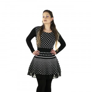 INNOCENT LIFESTYLE - VERONICA LACE DRESS LADIES BLACK/WHITE POLKA