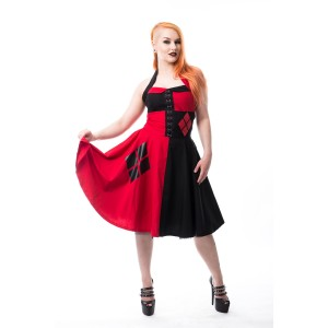 BATMAN - SPLIT DIAMOND DRESS LADIES BLACK/RED