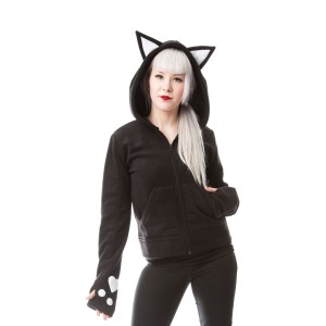 CUPCAKE CULT - DARK KITTY HOOD LADIES BLACK/WHITE