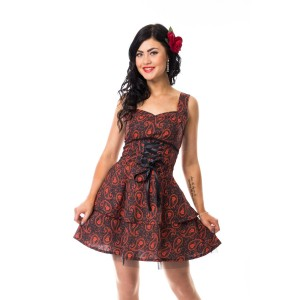 ROCKABELLA - ELLIE PAISLEY DRESS LADIES BLACK/RED