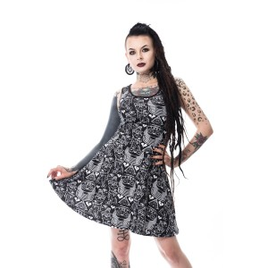 KILLER PANDA - EGYPT SKATER DRESS LADIES BLACK