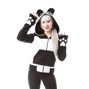 KILLER PANDA - KP SPLIT UP HOOD LADIES BLACK/WHITE