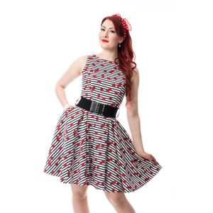 ROCKABELLA - SWEETIE DRESS LADIES WHITE/BLACK
