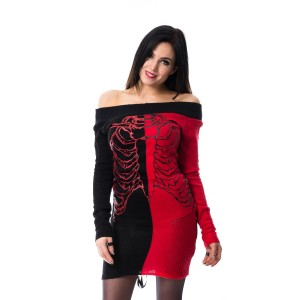 HEARTLESS - SPLIT END TOP LADIES BLACK/RED