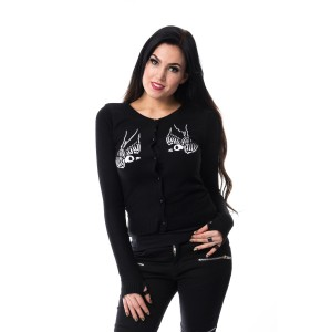 VIXXSIN - SKULL CROW CARDIGAN LADIES BLACK
