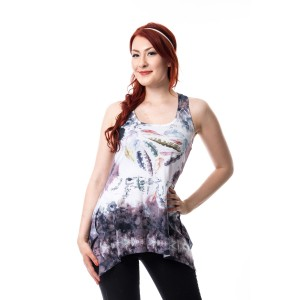 INNOCENT LIFESTYLE - FEATHER FLOWER LACE PANEL VEST LADIES WHITE/MULTI