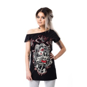 VIXXSIN - CAT MUERTE OFF SHOULDER T LADIES BLACK