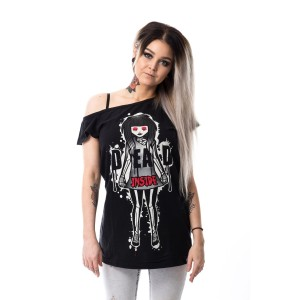 CUPCAKE CULT - DEAD INSIDE OFF SHOULDER T LADIES BLACK
