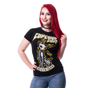 CUPCAKE CULT - DEATH CLUB T LADIES BLACK
