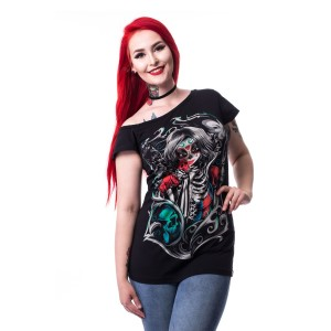 CUPCAKE CULT - MUERTE SNOW OFF SHOULDER T LADIES BLACK