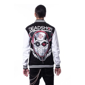 SUICIDE SQUAD - DEADSHOT VARSITY JACKET MENS BLACK