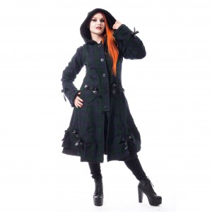 POIZEN - Alice Coat Ladies Green Check *a1