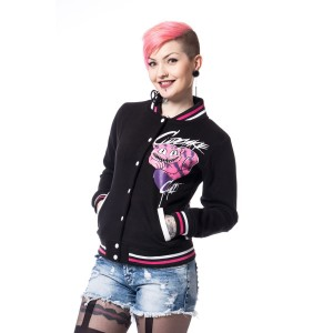 CUPCAKE CULT - ALICE VARSITY JACKET LADIES BLACK
