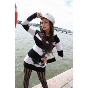VIXXSIN - ANCHOR TOP LADIES BLACK/WHITE
