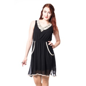 INNOCENT LIFESTYLE - BETH LACE & JERSEY DRESS LADIES BLACK