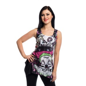 VIXXSIN - BETRAYED LACE PANEL VEST LADIES BLACK