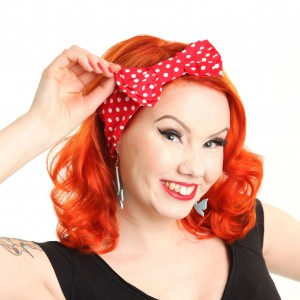 ROCKABELLA - BOW HEADBAND LADIES POLKA RED/WHITE *NEW*