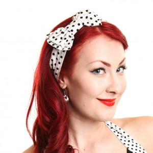 ROCKABELLA - BOW HEADBAND LADIES POLKA BLACK/WHITE
