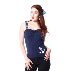 ROCKABELLA - CHERYL TOP LADIES BLUE