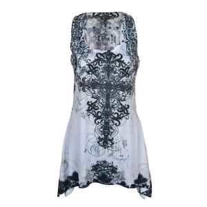 INNOCENT LIFESTYLE - CROSS LACE PANEL VEST LADIES WHITE
