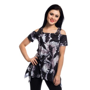 VIXXSIN - CROW LACE PANEL TOP LADIES BLACK