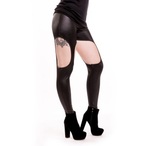 CUPCAKE CULT - CUTOUT LEGGINGS LADIES BLACK PVC *NEW*